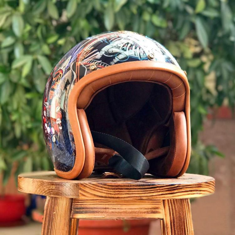 THH Tough Guy Wohnzimmer Buddha Jigong Vintage Helme Frühling und Herbst Reiten Gemalt Helm 3/4 Open Gesicht DOT