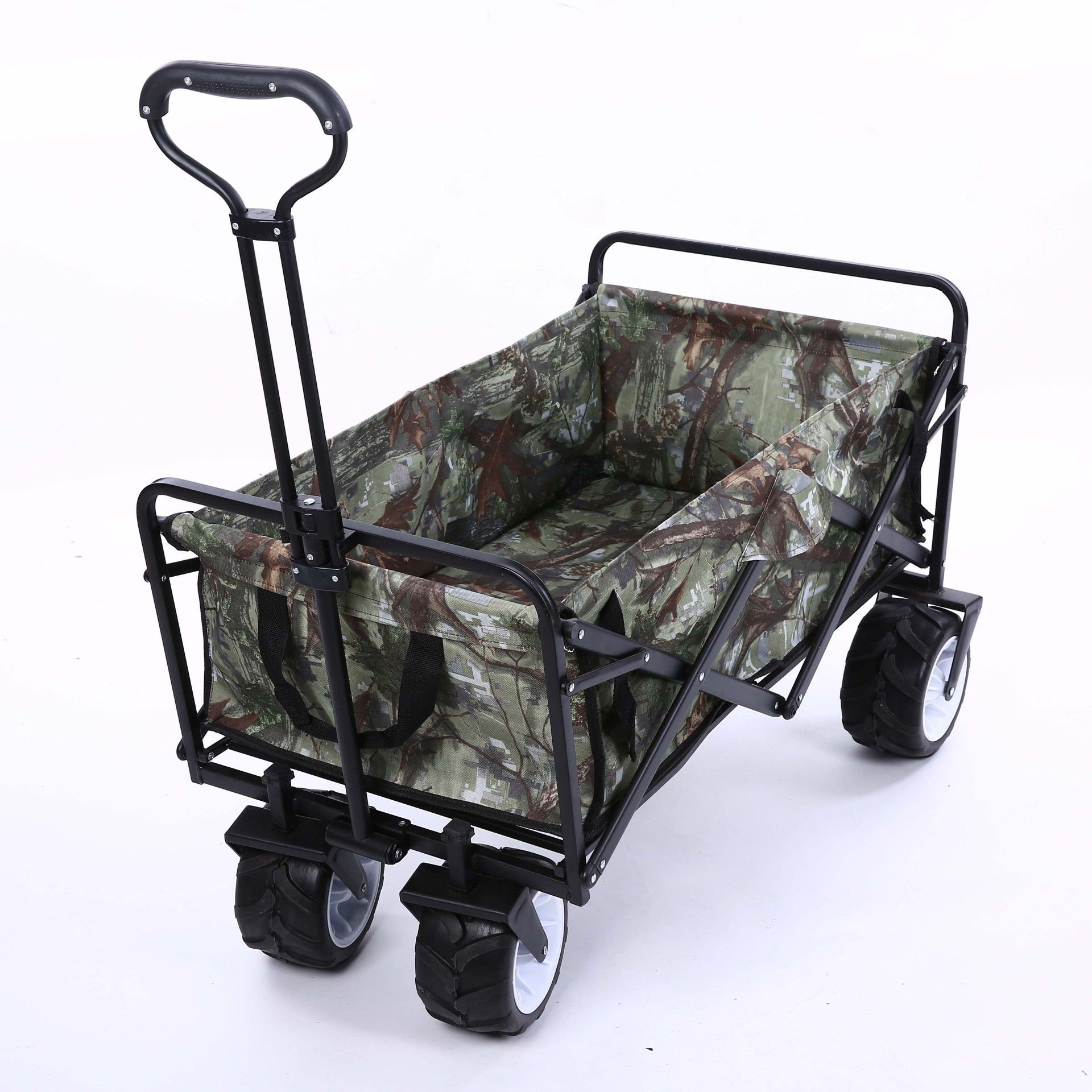 Stainless Steel Camouflage Pet Stroller Portable Folding Shopping Cart Four-wheeled Trolley for Outdoor Camping Fishing