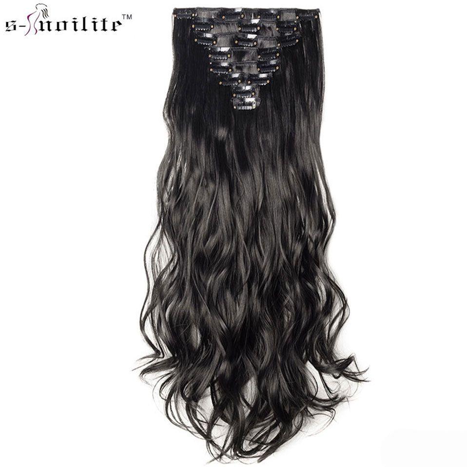 SNOILITE 24 pouces 170g Long bouclé 18 Clips en faux cheveux style synthétique Extensions de cheveux postiche 8 pièces/ensemble doux naturel noir