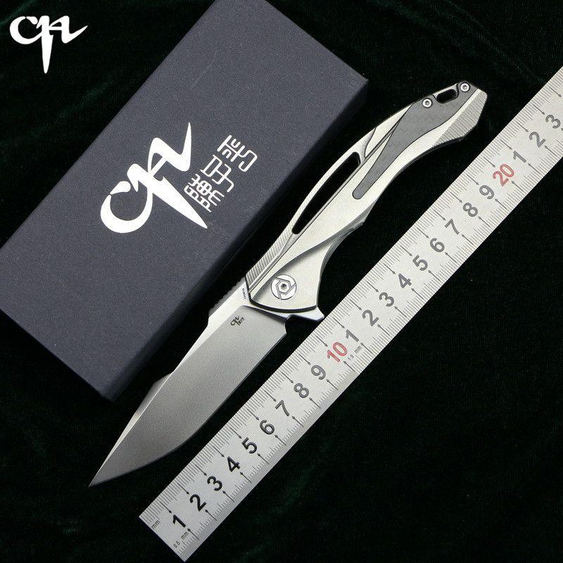 CH3519 Flipper folding knife s35vn steel TC4 Titanium + carbon fibe handle outdoor camping hunting pocket fruit Knives EDC tools