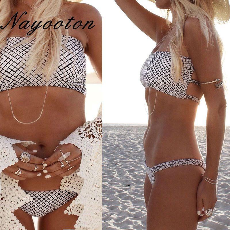 Summer 2019 push up new women's bikini set sexy crop top bathing suit white thong swimwear lattice printing swimsuit D0221