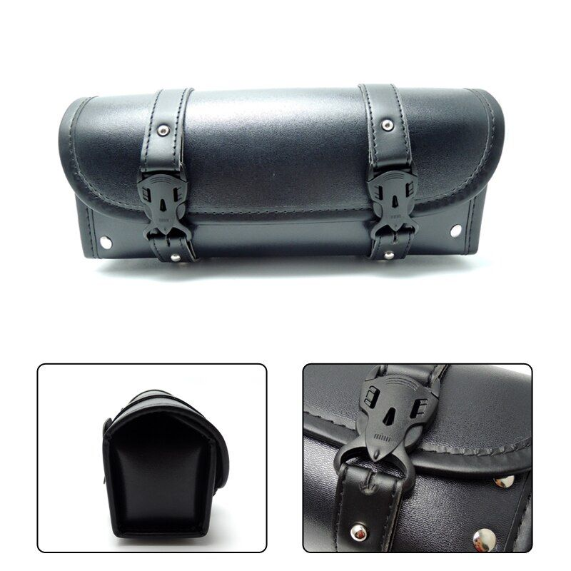 For Harley Motorcycle Front Forks Sissy Bar Tool Bags Scooter Handlebar Bags Storage Tool Pouch Luggage leather Bag