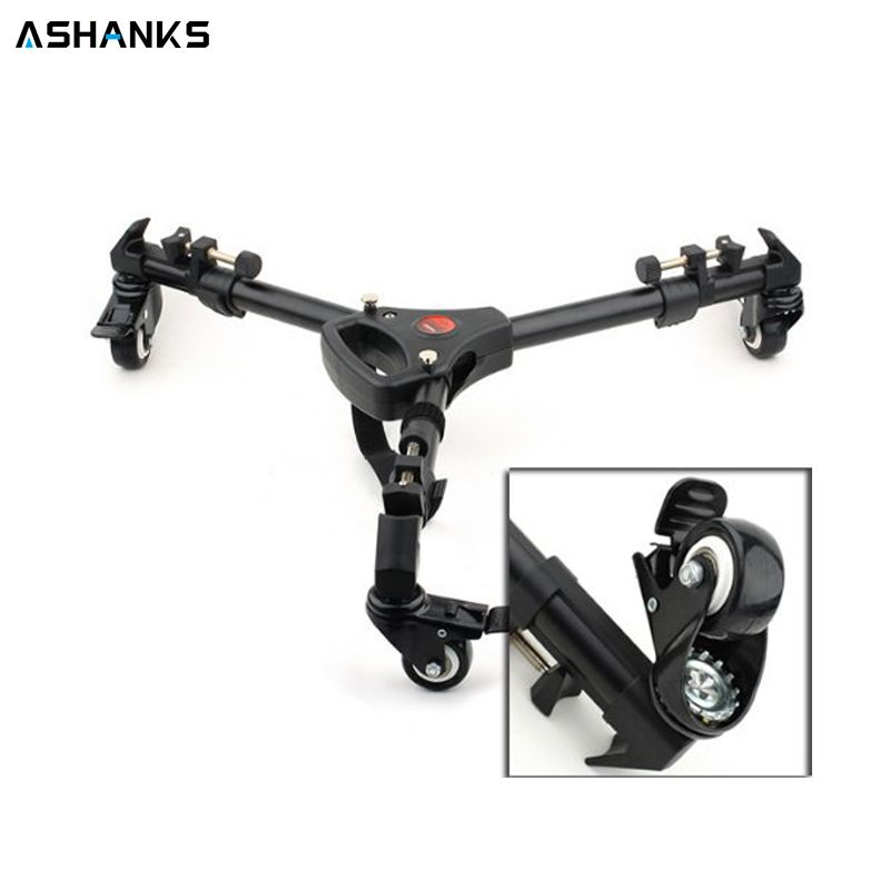 ASHANKS Yunteng YT900 Tripod Dolly Wheels Pulley Universal Folded Camera Tripod Base Stand with Carrying Bag Loading 15KG