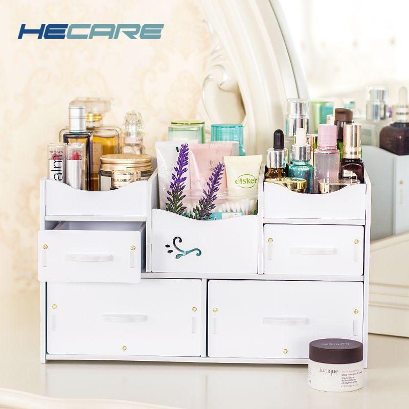HECARE En Plastique Maquillage Organisateur Étanche Cosmétique Récipient Contenant de Bijoux pour Cosmétique Haute-capacité Make Up Cas De Stockage
