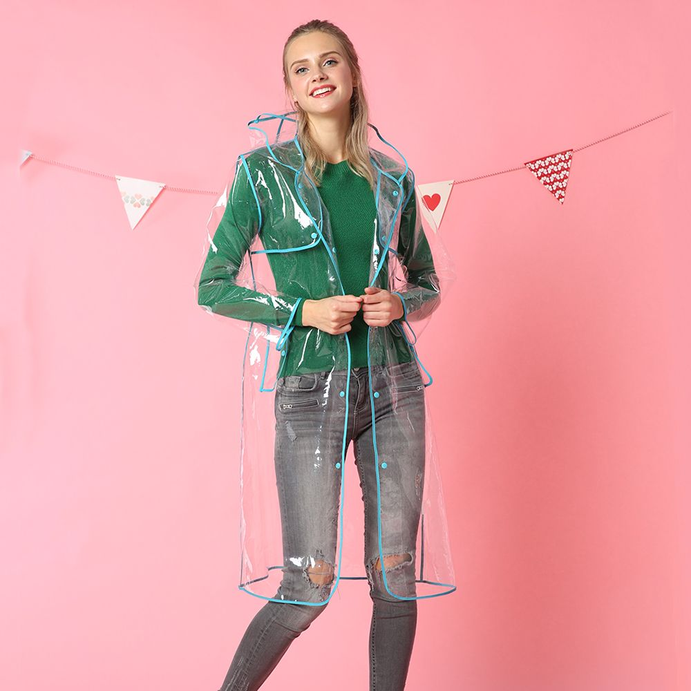 Mode personnalisée femmes TRANSPARENT EVA qualité imperméable hommes en plein air voyage imperméable à l'eau en plastique TRANSPARENT manteau de pluie veste