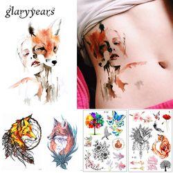Новое поступление 1 лист временная татуировка Стикеры KM-056 цветочный боди арт Водонепроницаемый татуировки Красота лиса Для Женщин кокетка ...