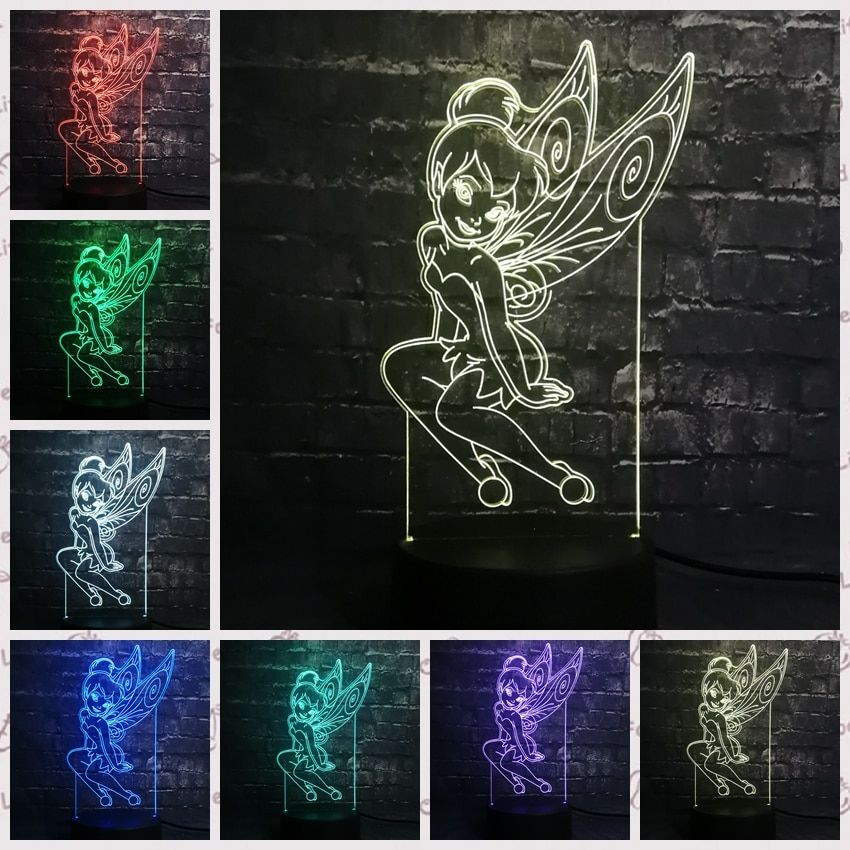 3D LED Tinker Bell Girl lamparas led infantil USB Base 7 Colors Change Night Light Decor Christmas Girl Kid Gift Baby Switch