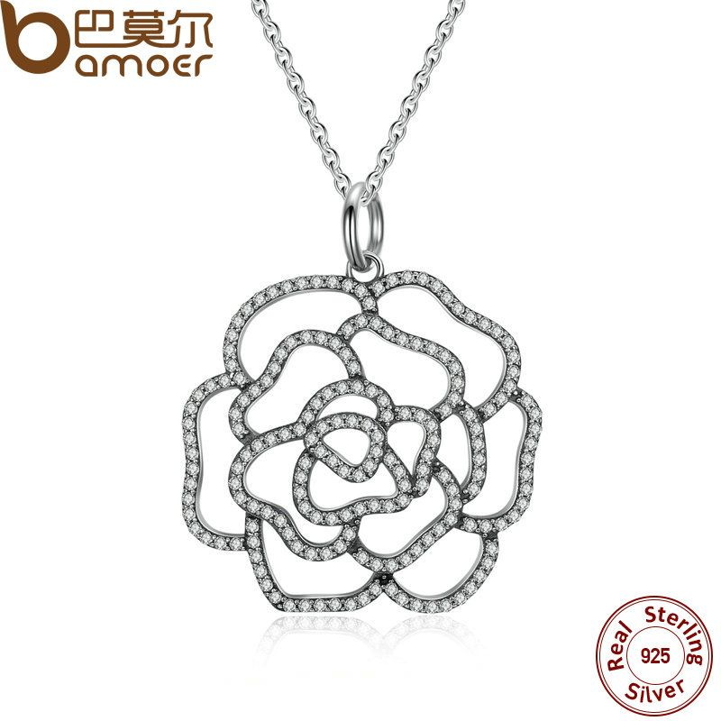 BAMOER 925 Sterling Silver Shimmering Rose Pendant Necklace, Clear CZ Necklaces & Pendants Colares Fine Jewelry PSN004