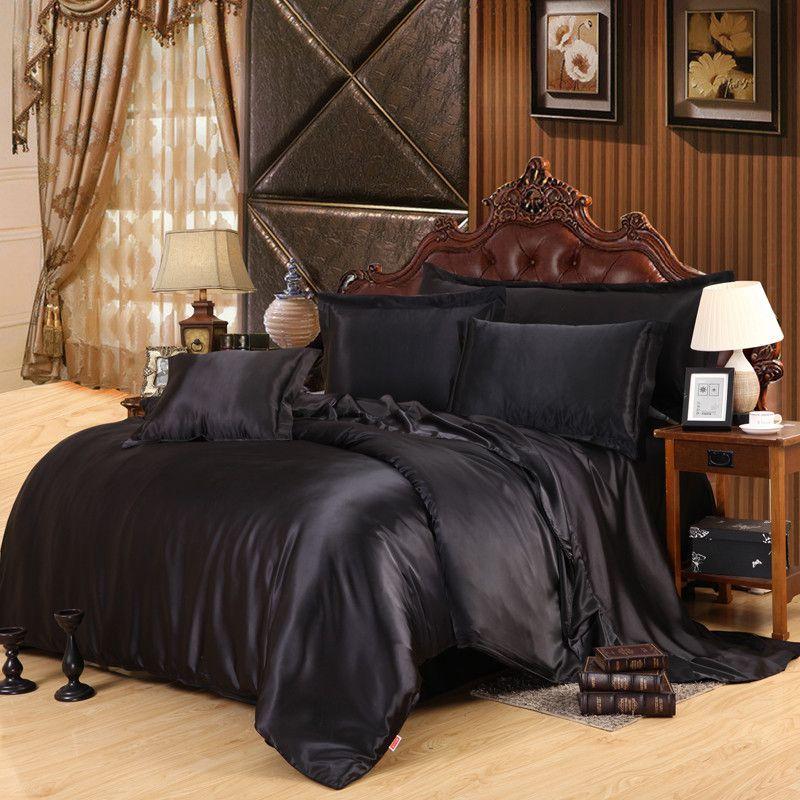100% Pure Satin Silk Bedding Set Queen Size Bed Sheet Sets Bedclothes Solid Duvet Cover Set Sheet