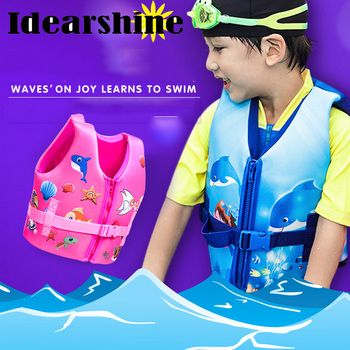 life vest kids children zwemvest voor kids flower shark printed life jacket kayak pool beach swimming child lifesaver