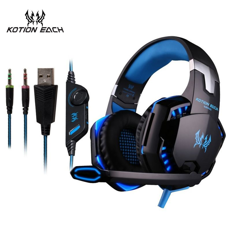 KOTION EACH 3.5mm Earphone Gaming Headset Gamer PC Headphhone Gamer Stereo Gaming <font><b>Headphone</b></font> With Microphone Led For Computer