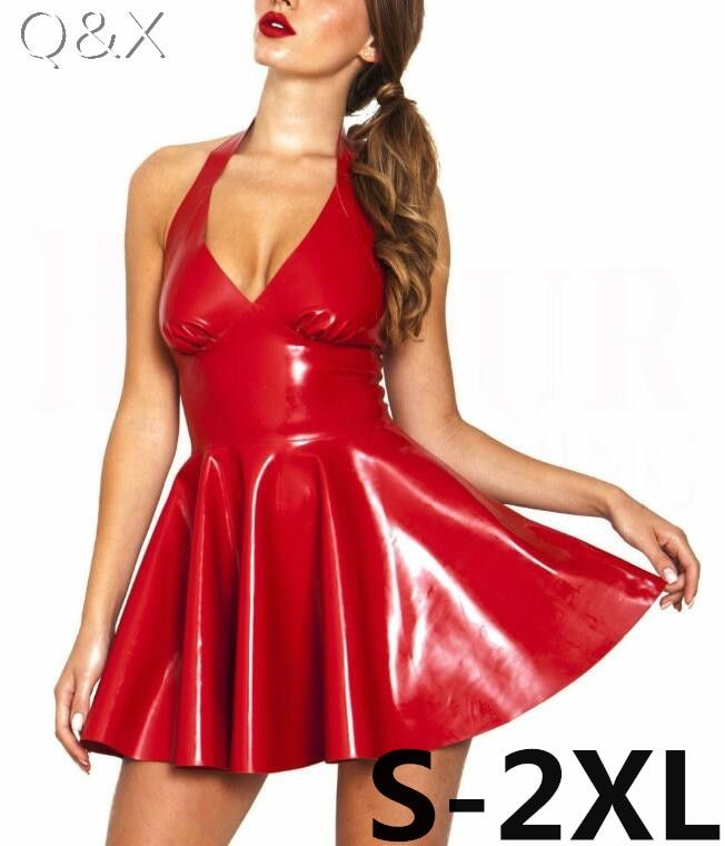 XX48 Sexy PVC Faux cuir robe rouge brillant 2017 licou sans manches Catsuit érotique Bondage robe plissée Clubwear Costume S-XXL