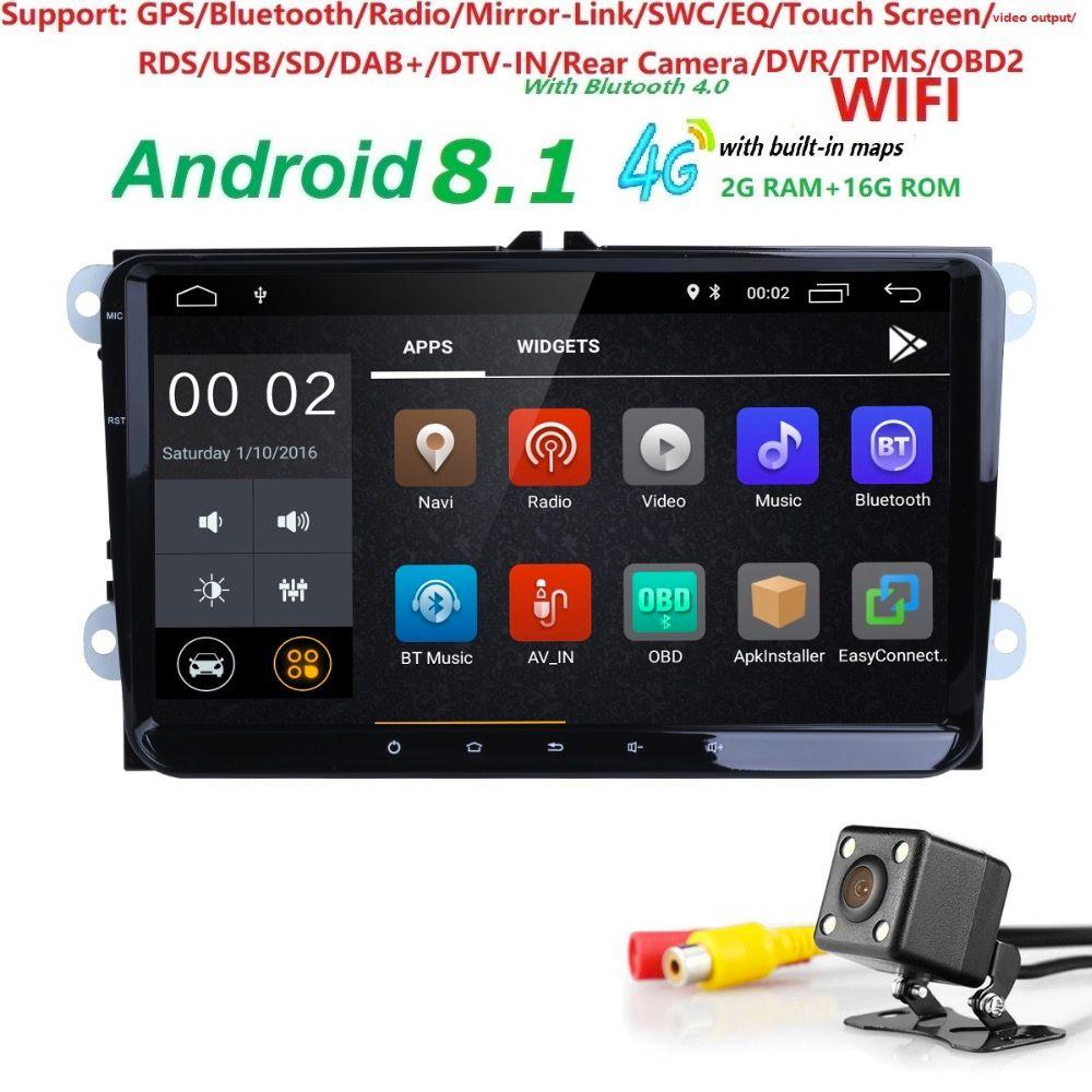 Hizpo 1024*600 2 din Android 8.1 Car No DVD Radio GPS For VW Passat Estate/Sedan/Wagon/Allfrack/CC POLO 1080P SWC TPMS 4G