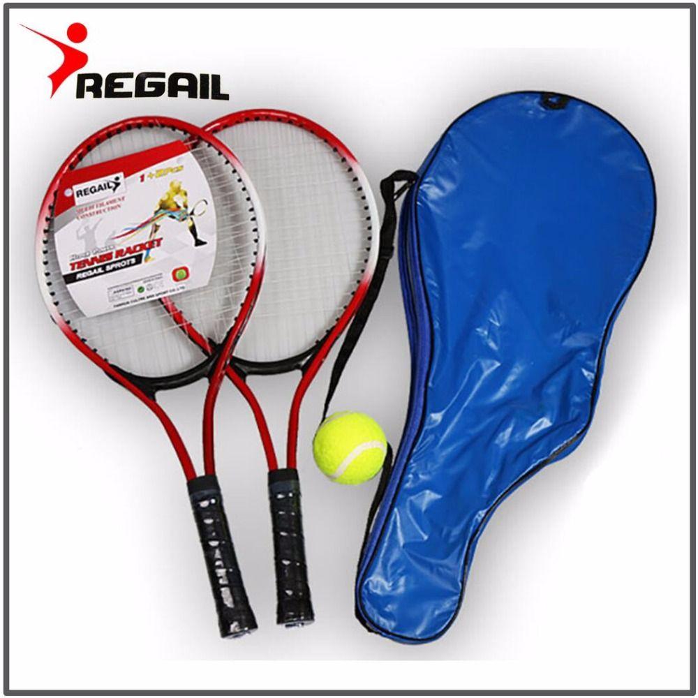 Lot de 2 raquette de Tennis pour ado pour entrainement raquete de tennis fibre de carbone haut matériel acier cordage de tennis avec balle libre