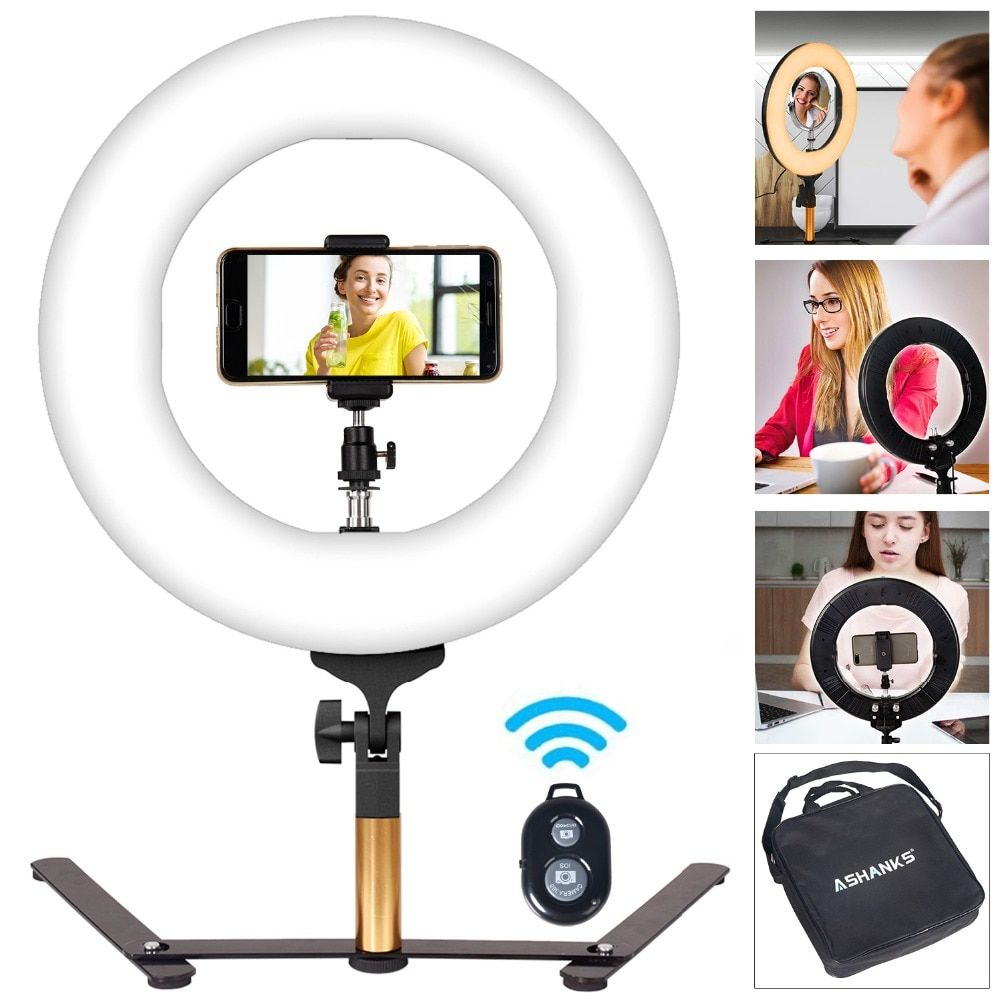 14'' 40W Stepless Dimmer Photo Studio Photography Tabletop Makeup Ring Light for Phone Video Live LED Lamp with Bluetooth Remote