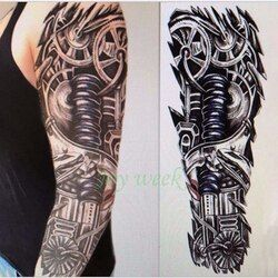 Tahan Air Sementara Tato Stiker Penuh Lengan Ukuran Besar Lengan Robot Tatto Flash Tato Tato Palsu Lengan untuk Pria Wanita 19