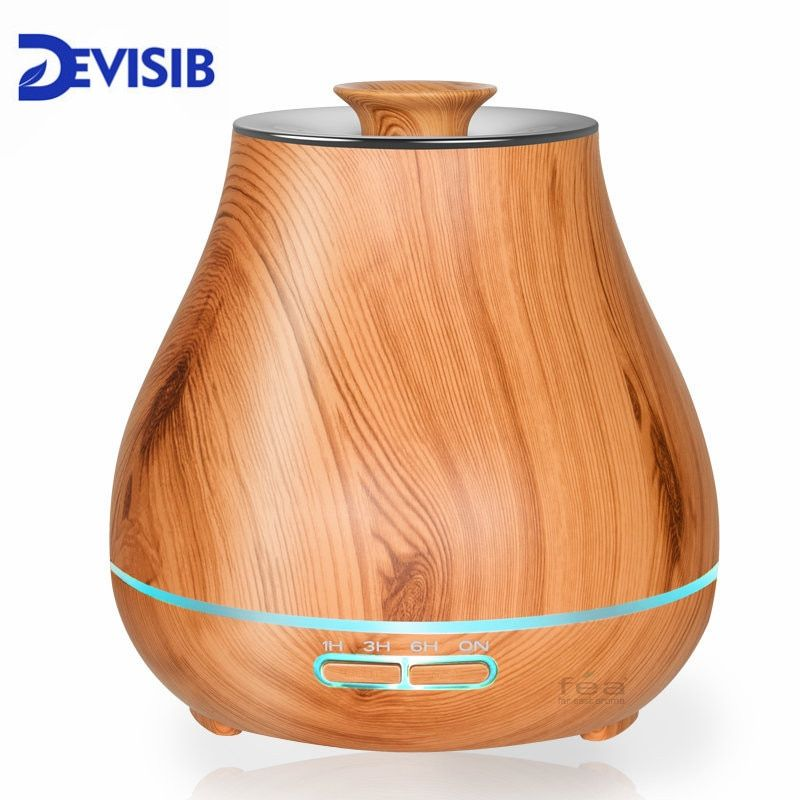 DEVISIB 400ml Essential Oil Diffuser Aroma Cool Mist Humidifier with Waterless Auto Shut-off and 7 Color LED Light and BPA Free
