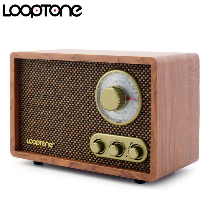 LoopTone Tabletop AM/FM Hallo-fi Radio Vintage Retro Klassische Radio W/Eingebauter Lautsprecher Höhen & Bass Control Hand -gefertigt Holz