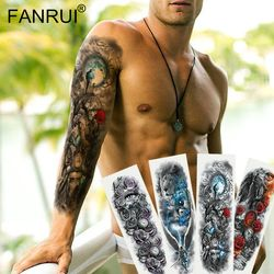 Army Warrior Soldier Black Temporary Tattoo Stickers For Men Full Body Art Arm Sleeve Tattoo 48*17CM Large Waterproof Tatoo Girl