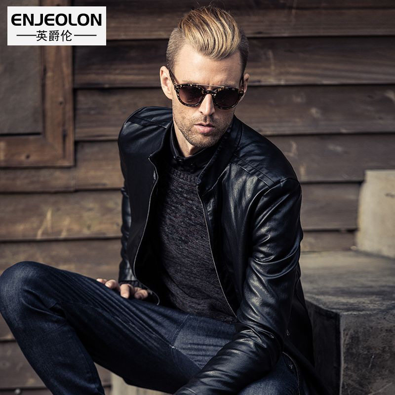 Enjeolon brand PU Motorcycle Leather Jackets Men Autumn Winter Clothing plus size S 3XL Male Casual black Coats P222
