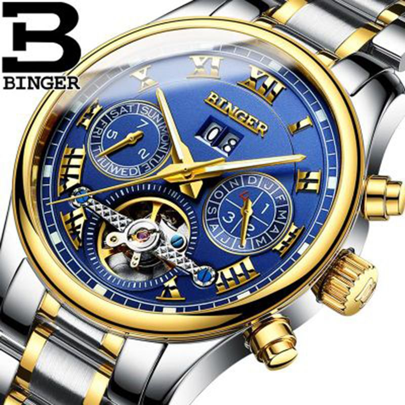 Genuine Luxury BINGER Brand Men Self-wind waterproof full steel automatic mechanical male Luminous fashion Tourbillon watch