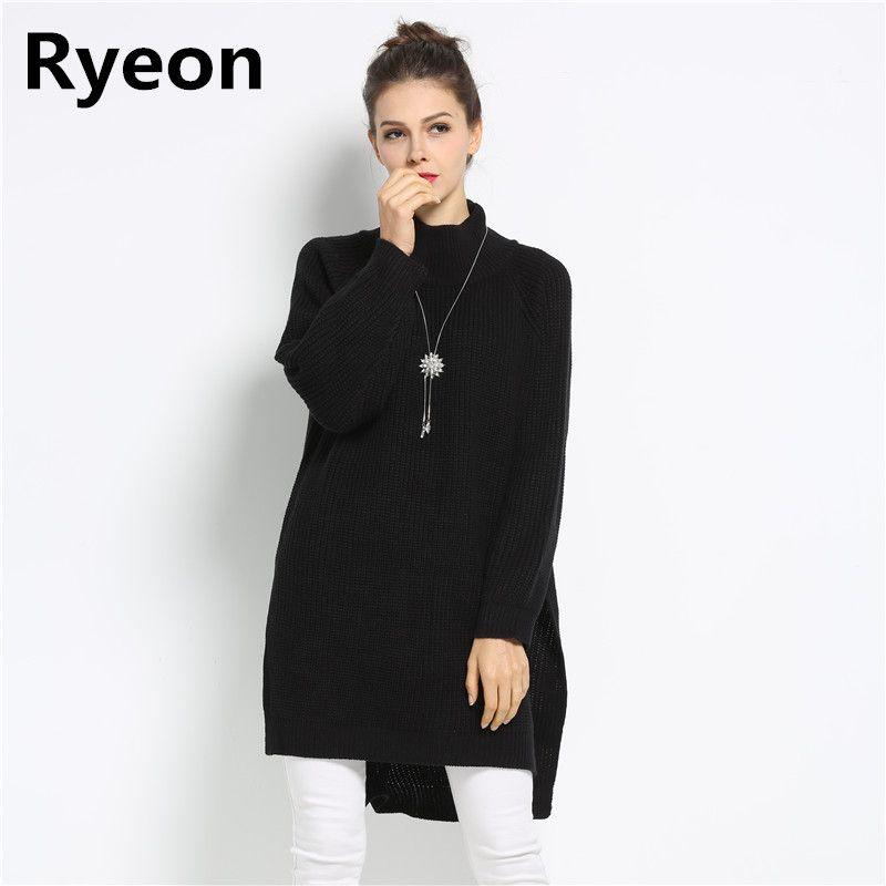 Ryeon Frühling Winter Frauen Übergroße Pullover Kleid Rollkragen Langarm-pullover Kleid Mutterschaft Damen Pullover Pullover