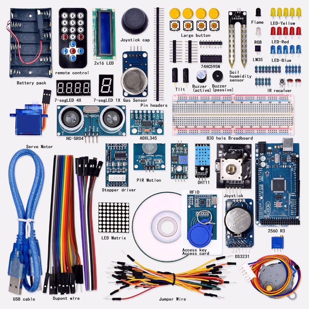 Livraison gratuite Super Mega 2560 Starter Kit pour Arduino 1602LCD RFID Relais Moteur Buzzer