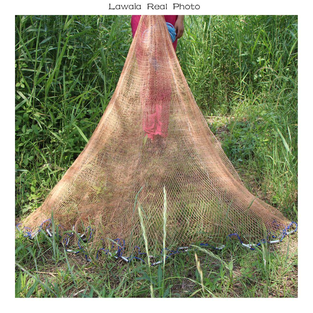 Lawaia Hand Casting net Diameter 2.4-5m Throw Fishing Net 1*1cm mesh Iron Pendant American Style Fishing Network