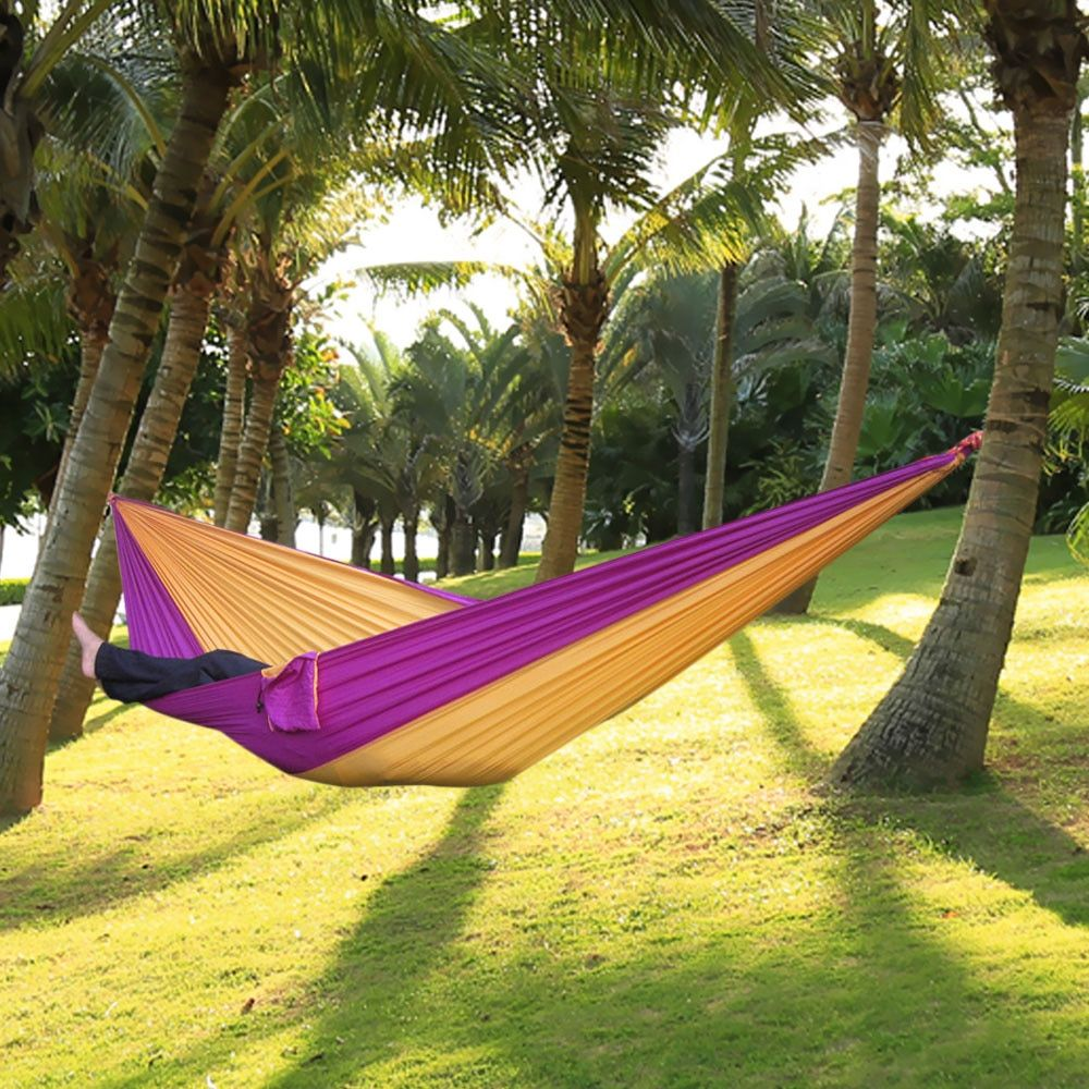 Portable Nylon Single Person Hammock Parachute Parachute Fabric Hammock For Travel Hiking Backpacking Camping Hammock 17 Colors