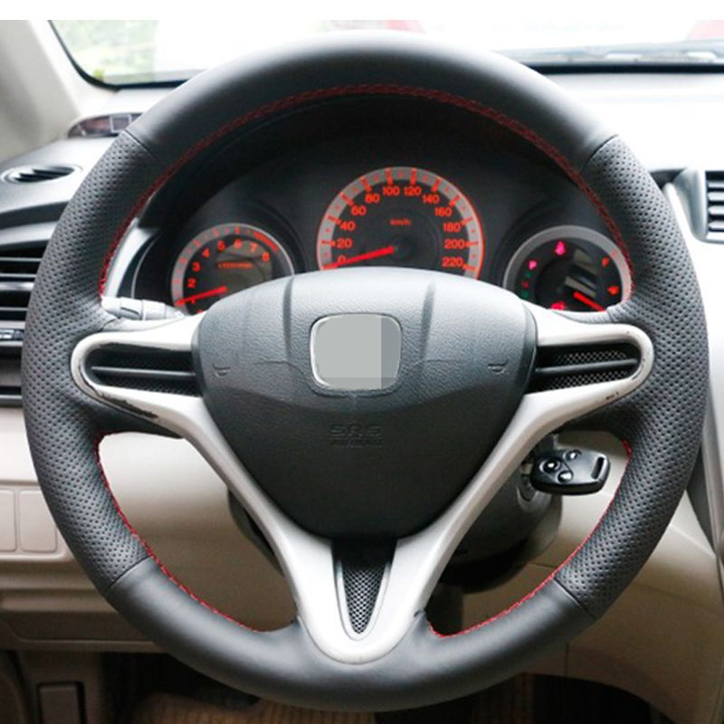 APPDEE Black Artificial Leather Car Steering Wheel Cover for Honda Fit 2009-2013 City Jazz
