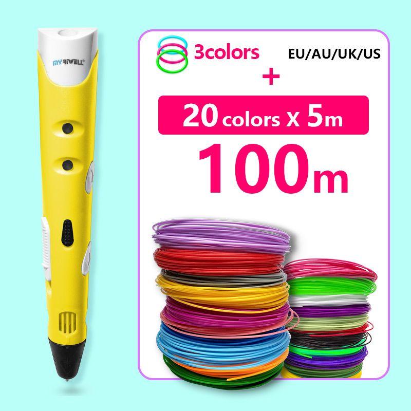 Myriwell 3 d stylo 3d stylos pla 1.75mm abs filament 20*5 m, enfants De Noël cadeaux creative 3d imprimé stylo-3d dessin stylo graffiti