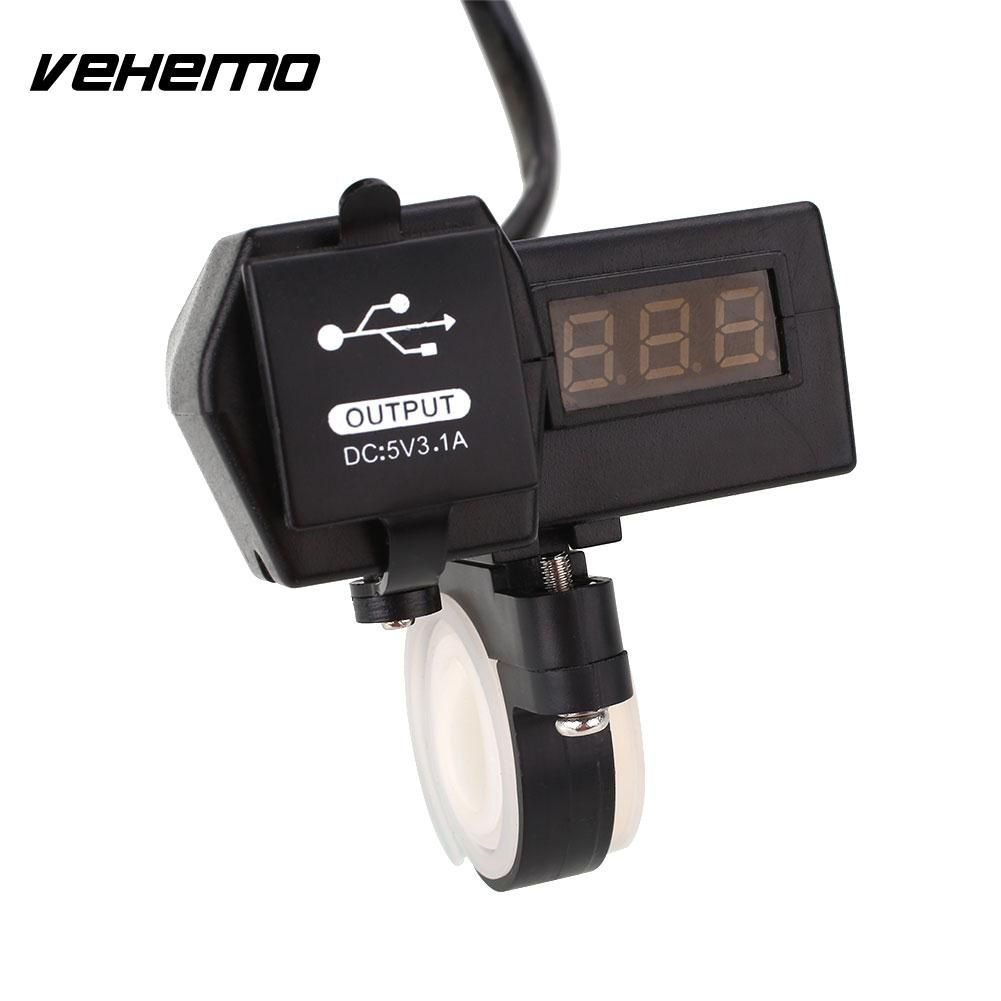 Vehemo Motorcycle USB Socket Charger with LED Display Voltage Voltmeter Meter