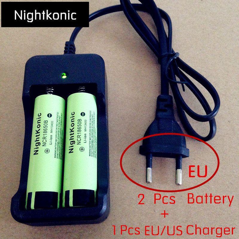 Nightkonic 2 pcs/lot 18650 batterie 3.7 v Batterie Rechargeable Li-ion plat 18650B + 1 pcs (UE/USA) 2 slot Chargeur