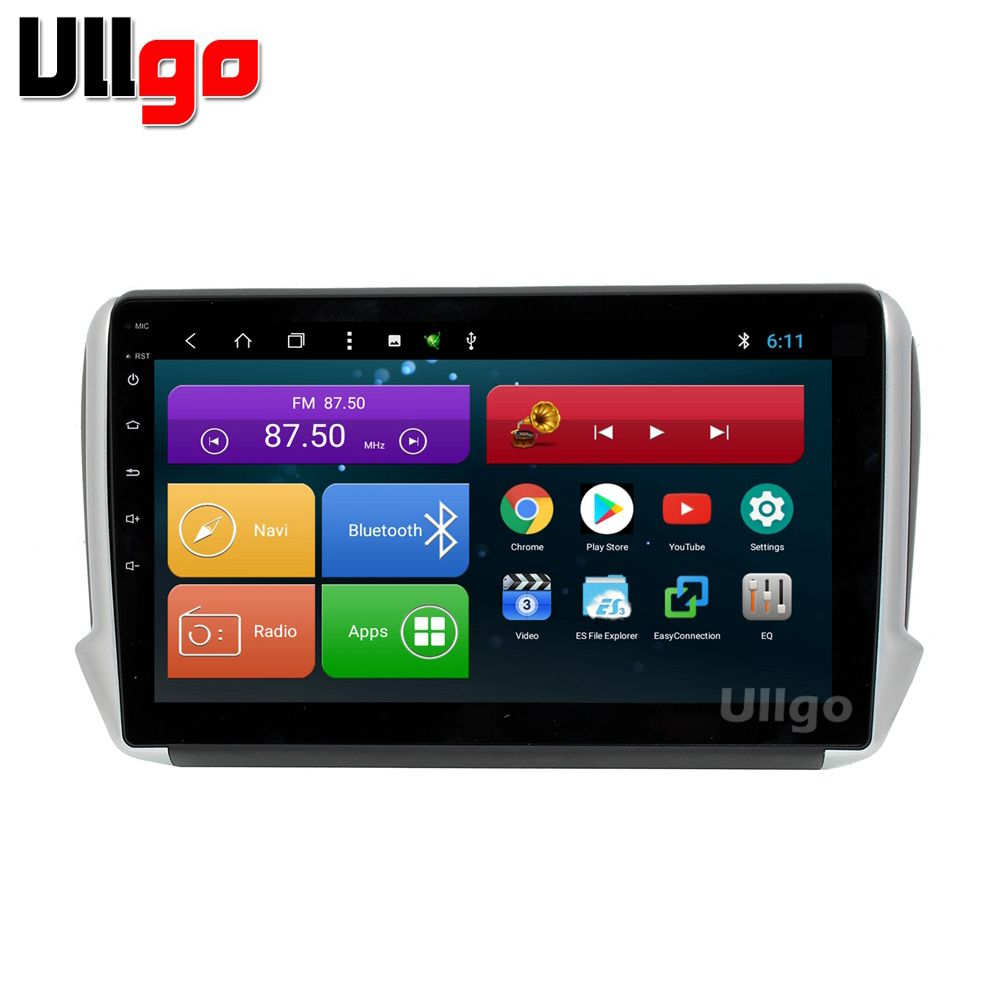10.1 inch Android 8.1 Car Head Unit for Peugeot 2008 208 Autoradio Car Stereo with BT Radio RDS Mirror-link Wifi 16GB map card