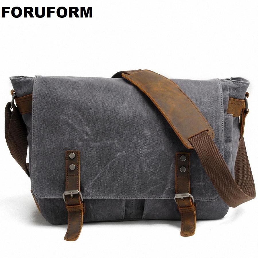 2018 nouveaux hommes Messenger sacs toile imperméable hommes Vintage sacs à main voyage sacs à bandoulière 14 pouces sacoche pour ordinateur portable LI-1488