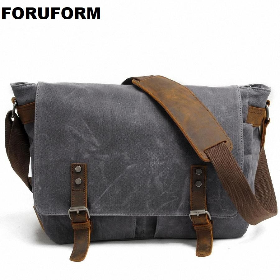 2018 New Men Messenger Bags Waterproof Canvas Men Vintage Handbags Travel Shoulder Bags 14 Inch Laptop Briefcase LI-1488