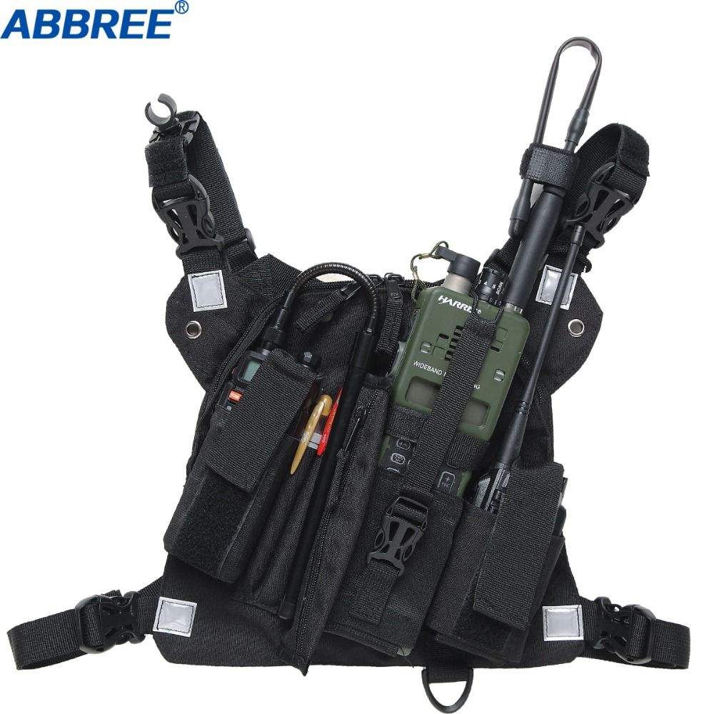 Abbree Radio Chest Harness Chest Front Pack Pouch Holster Vest Rig Chest Bag for Walkie Talkie Motorola Baofeng UV-5R TYT Wouxun