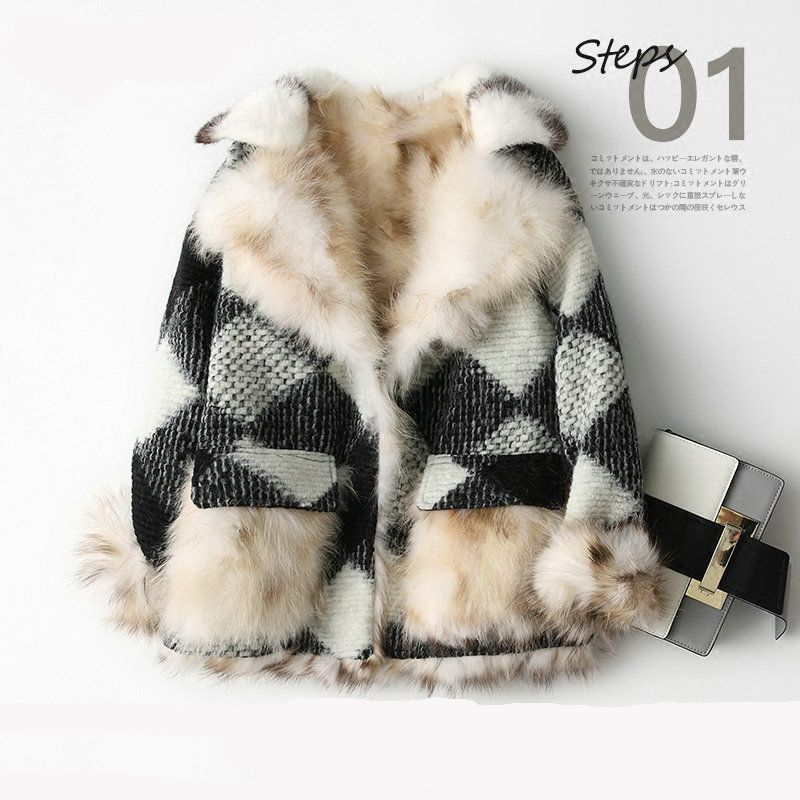 Real 100% Fox fur coat natural fur coat spliced female women's jacket Women's winter jacket real fur women's fur coats mex