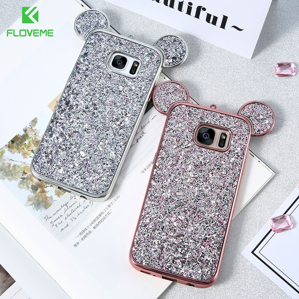 Floveme для Samsung Galaxy S8 плюс S6 S7 S8 чехол 3D Симпатичные Блеск Микки Телефонные Чехлы для Samsung S8 S7 S6 край силиконовый чехол Капа