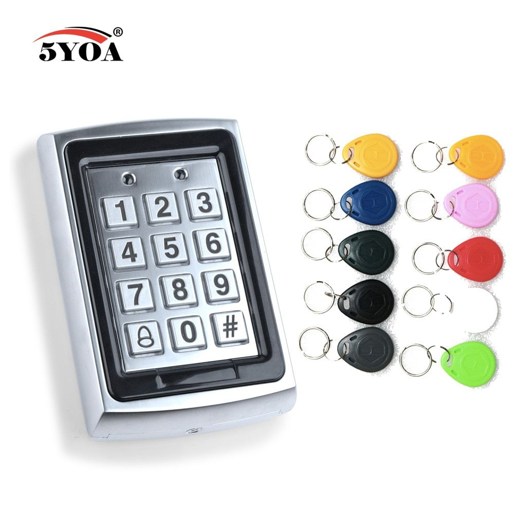 Waterproof Metal Rfid Access Control Keypad With 1000 Users 125KHz Card Reader Keypad Key Fobs Door Access Control System