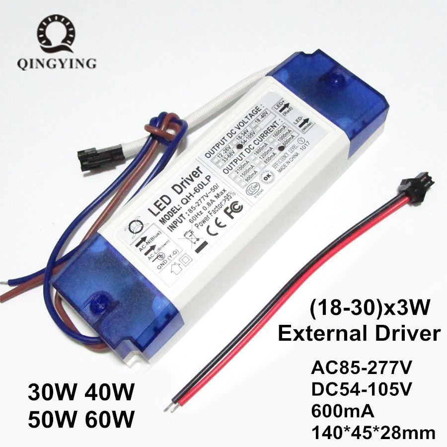 40 W 50 W 60 W LED Driver 600mA 18-30x3W DC54-105V 0.95 transformateurs d'éclairage de facteur de puissance élevé pour l'alimentation de lumière de projecteur