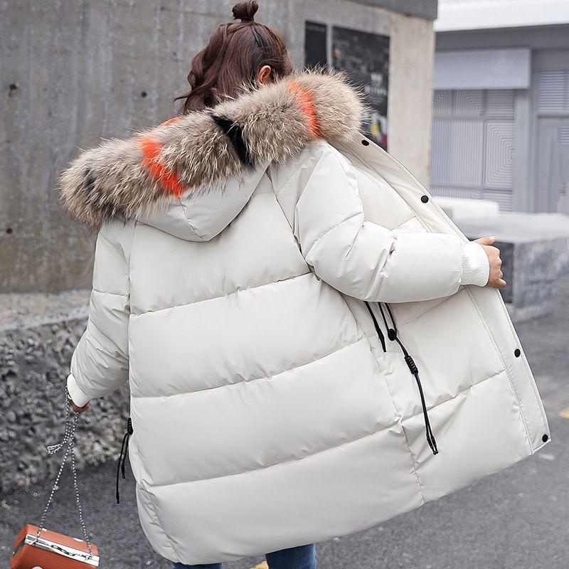Großen Faux Pelz Winter Mantel Verdicken Parka Frauen Schlanke Lange Weiße Winter Mantel Mujer Unten Baumwolle Parkas Padded Jacke Weibliche XXXL