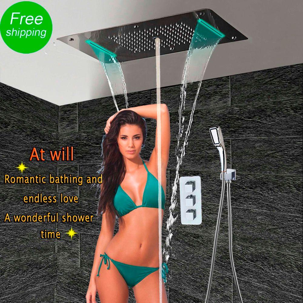 Bad Dusche Set mit LED Decke Dusche Kopf Thermostat Verborgen Panel Luxus Bad Dusche Wasserfall Blase Nebel HF5422