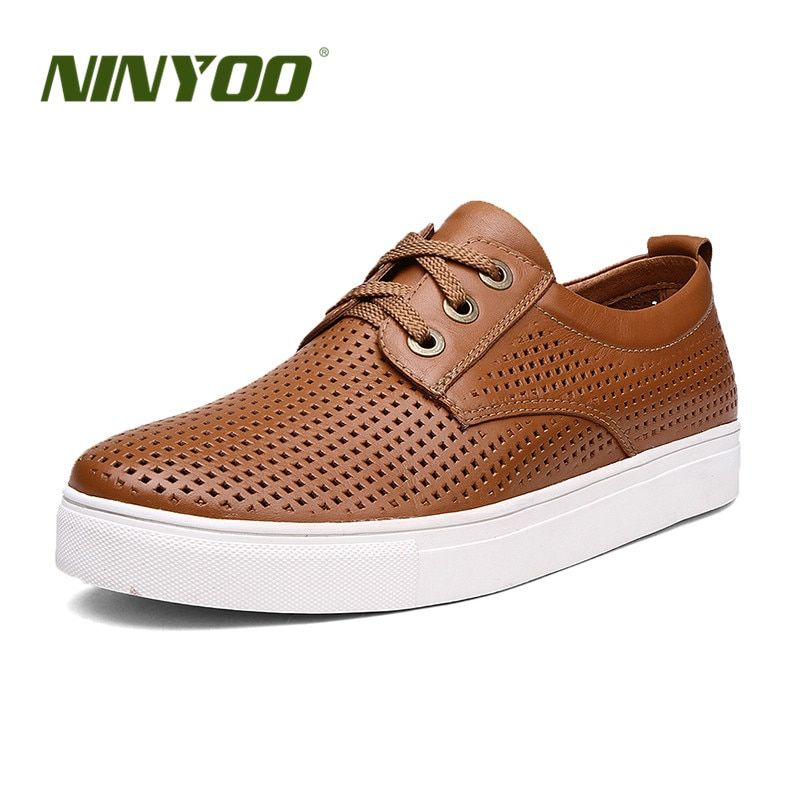 NINYOO Fashion Summer Hollow Out Shoes Men Genuine Leather Casual Shoes Man Wearproof Breathable Lace Up Flats Big Size 50 51 52