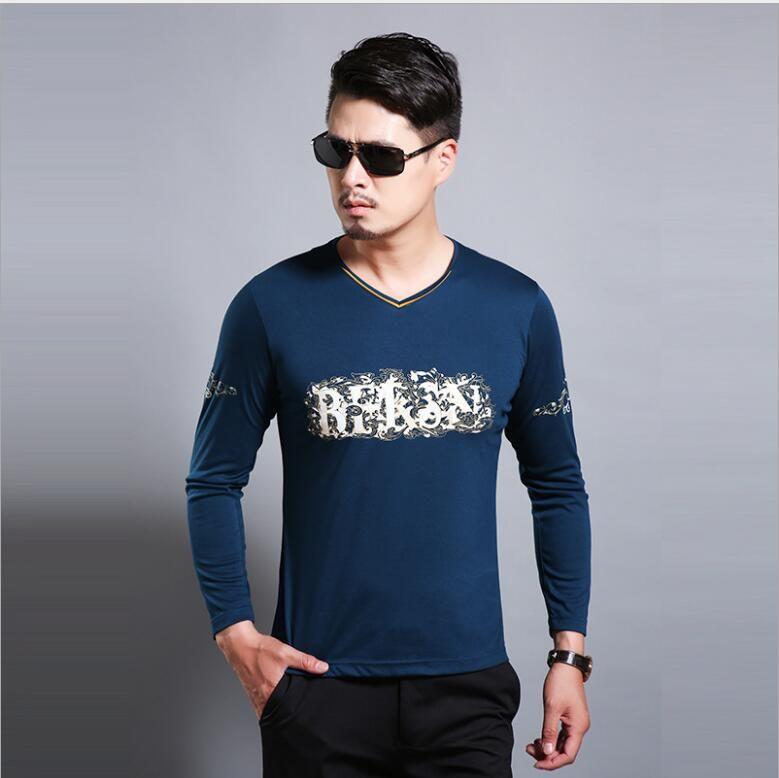 New men's printed long-sleeved velveteen T shirt casual knit joker V collar