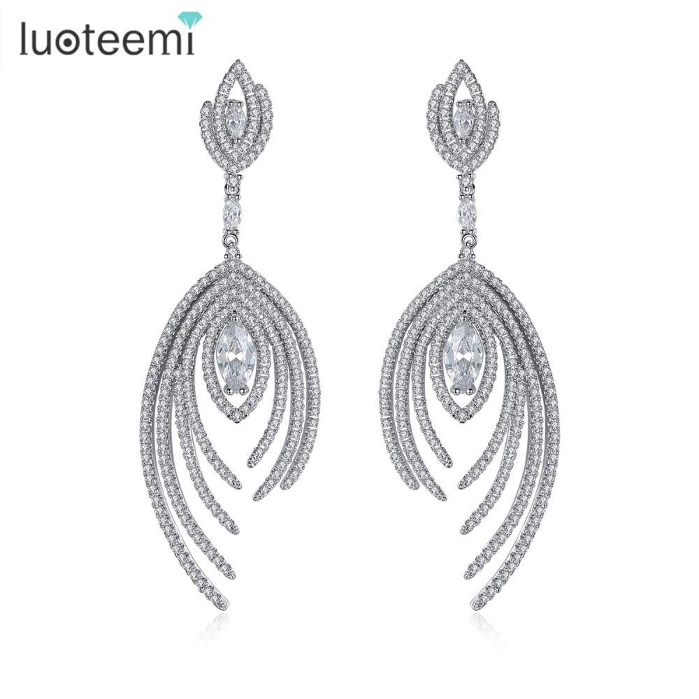 LUOTEEMI nouveaux cadeaux de noël à la main grand balancent Brincos luxe plein brillant CZ cristal boucles d'oreilles pour les femmes bijoux de mariage