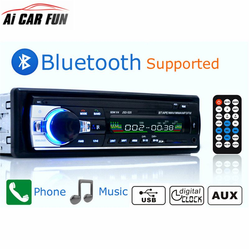 Autoradio Car Radio 12V Bluetooth V2.0 JSD520 Car Stereo In-dash 1 Din FM Aux Input Receiver SD USB MP3 MMC WMA Car Radio Player