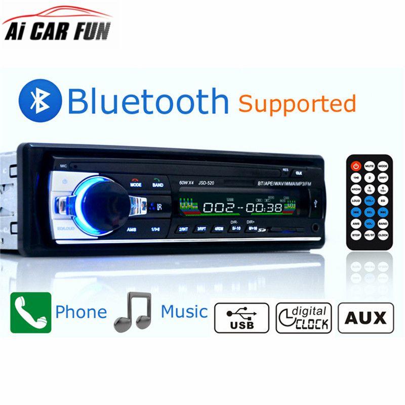 Autoradio De Voiture Radio 12 V Bluetooth V2.0 JSD520 Voiture Stéréo Au tableau de bord 1 Din FM Entrée Aux Récepteur SD USB MP3 MMC WMA Voiture Radio Lecteur