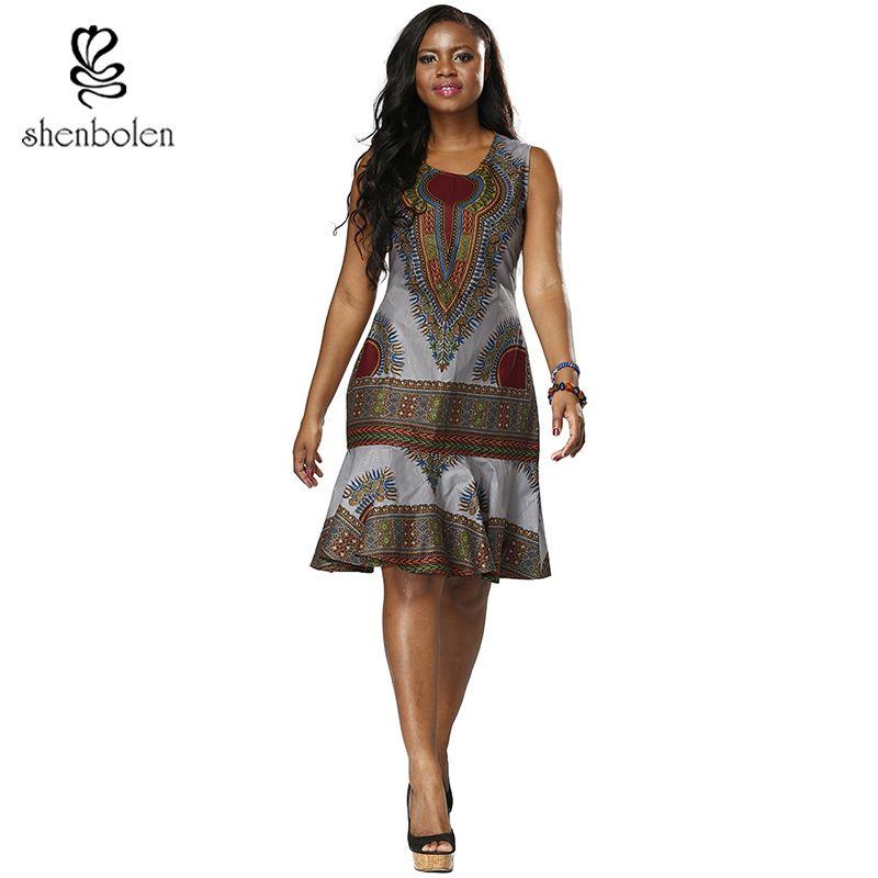 Robes Pour Les Femmes africaines Dashiki robe de mode impression de Haute Qualité de Couture Sans Manches en queue de poisson Ourlet Vêtements Traditionnels
