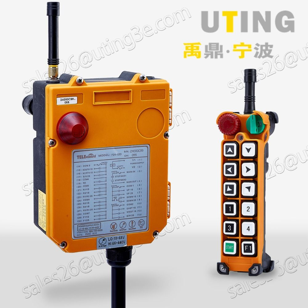 12V AC/DC UHF425-446 MHZ 12 Channels Industrial Wireless Radio Remote Control F24-12S for Hoist Crane Controller